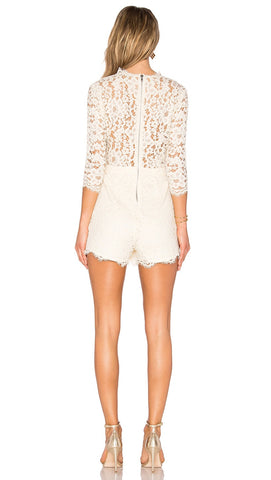 NBD Warren Romper Ivory Lace Deep V Long Sleeve Plunge