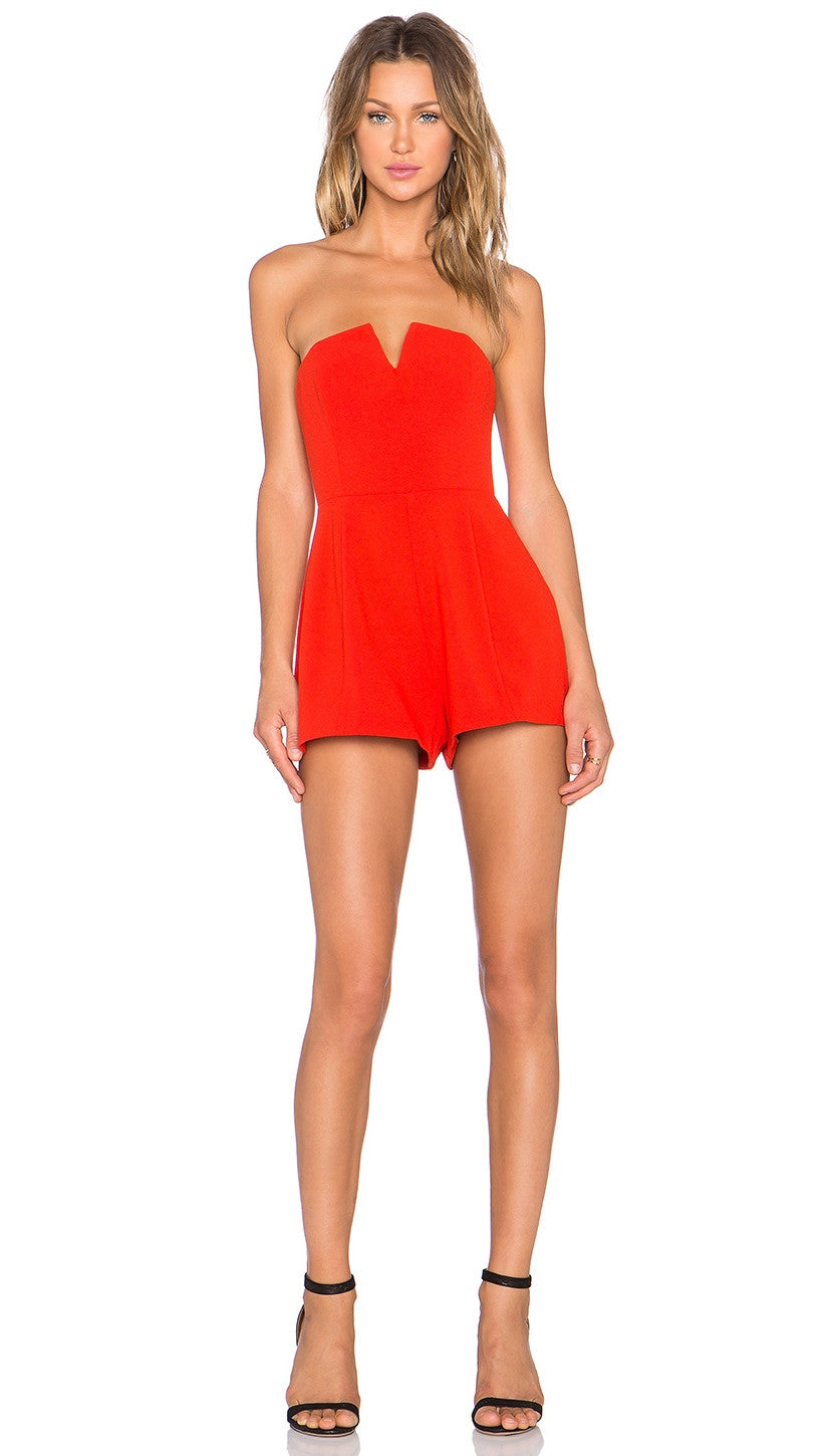 NBD X Naven Twins Ride or Die Strapless Romper Bright Red