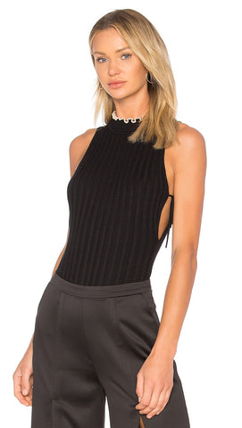 NBD Hope Bodysuit Black Beige Rib Knit Cut Out Lace Up Tie