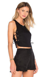 NBD Naven Tie It Up Lace Up Cropped Top Black