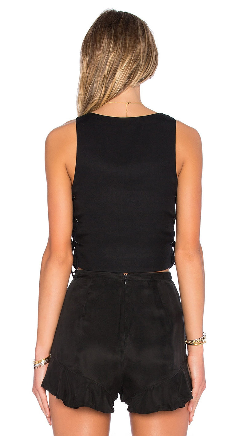 NBD Tie It Up Silk Crop Top in Black