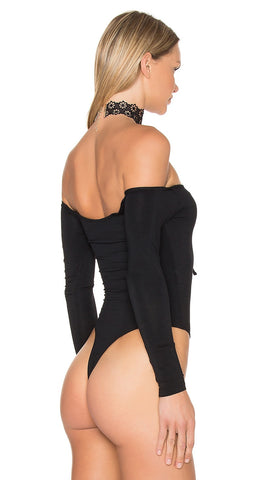 NBD Kendall Long Sleeve Bodysuit Black
