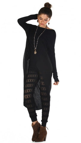 Nightcap Clothing Autumn Leaf Lace Pant in Black