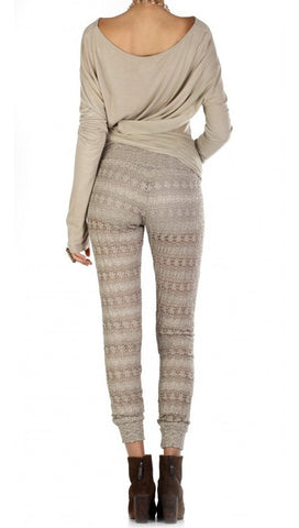 Nightcap Clothing Autumn Leaf Lace Pant in Putty