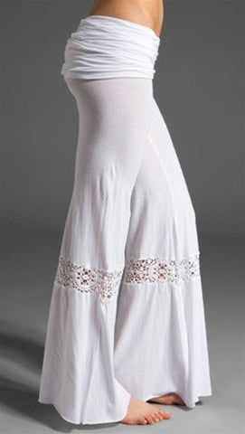 Nightcap Clothing Crochet Foldover Beach Pant in White