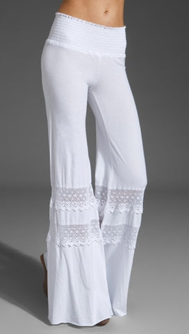 Nightcap Clothing Smocked Crochet Pant in White