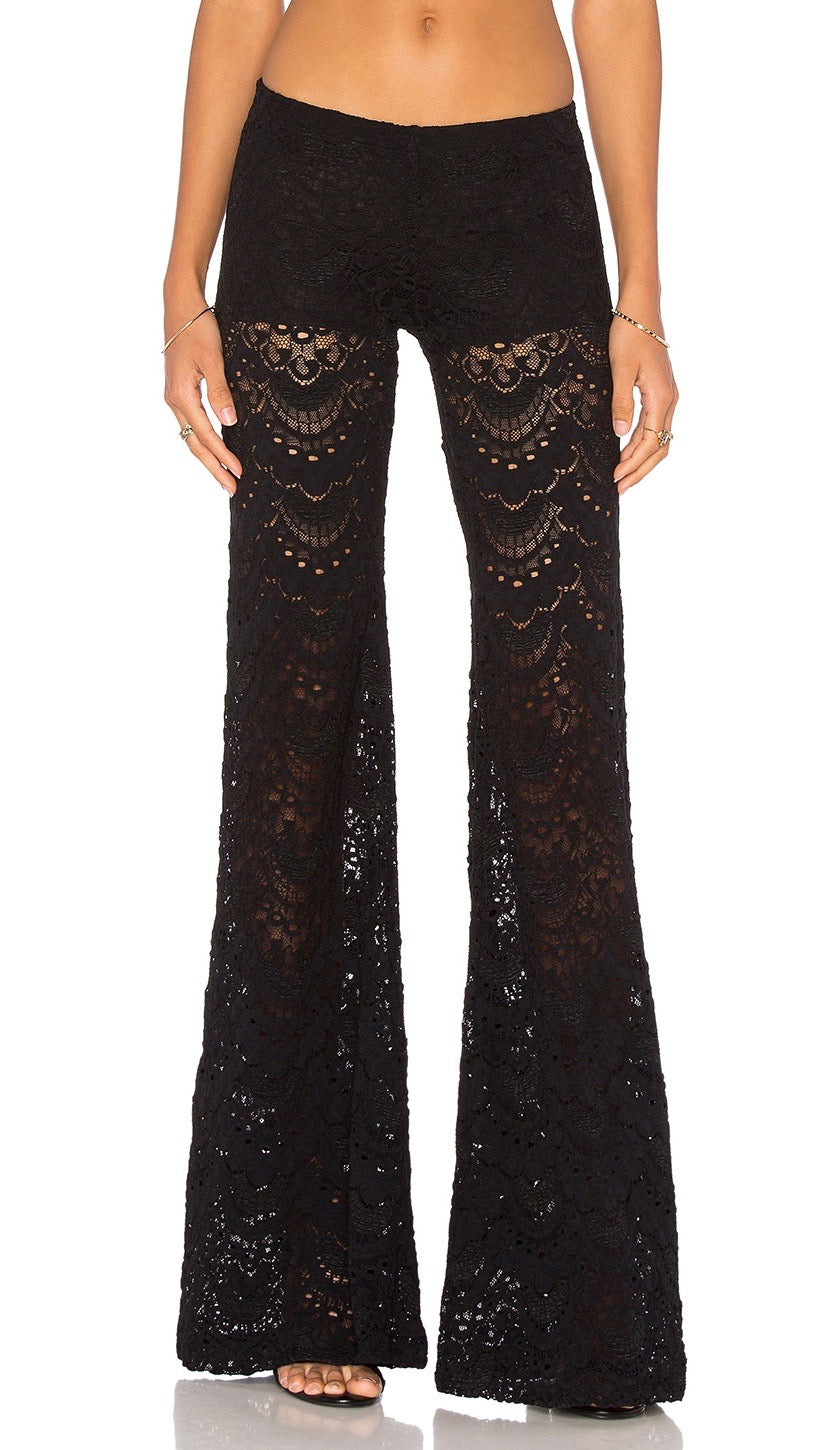 Nightcap Clothing Spanish Fan Lace Pant in Black