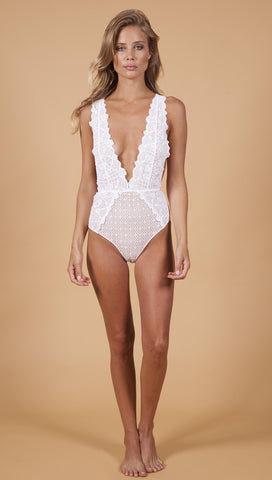Nightcap Net Mesh Deep V Plunge One Piece Lace Swim Dove White | ShopAA