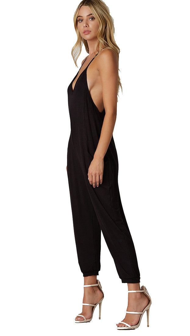 Free Spirit Jumpsuit Black Pocket Tank Jumper Harem Pant