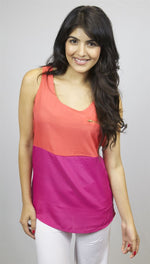 Olive & Oak Color Block Zipper Pocket Sleeveless Top in Coral and Beetroot