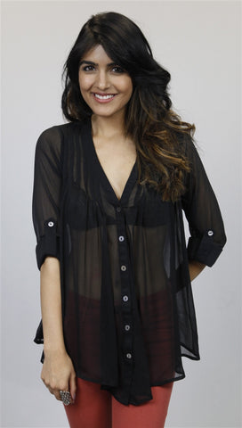 Olive & Oak Pleated V-neck Blouse in Black