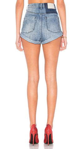 One Teaspoon High Waist Bandit Denim Shorts Blue Society | ShopAA
