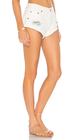 One Teaspoon Bandits Low Waist Denim Short Chalk White | ShopAA