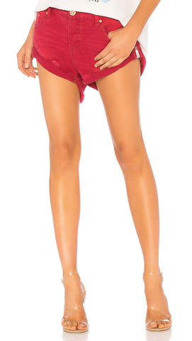 One Teaspoon Bandits Denim Shorts Red Envy | ShopAA