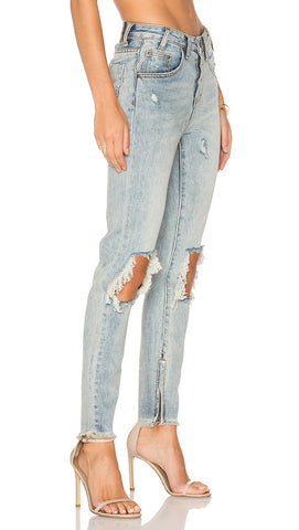 High Waisted Freebird Distressed Jeans Whiskey One Teaspoon l ShopAA