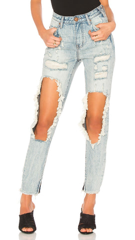 High Waisted Freebird Jeans in Blue Hart One Teaspoon l ShopAA
