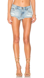 One Teaspoon The No 25 in Blue Hart Distressed Denim Shorts Light Wash