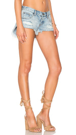 One Teaspoon The No 25 in Blue Hart Denim Shorts