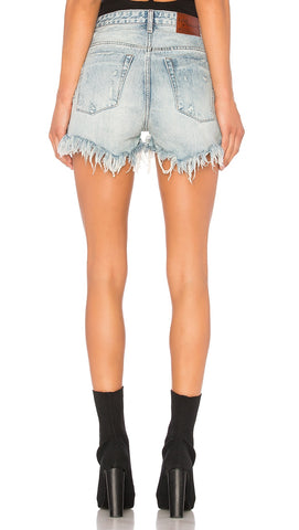 One Teaspoon High Waist Bonita Denim Shorts in Blue Hart - ShopAA