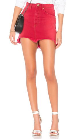 One Teaspoon Vanguard High Waist Denim Red Envy Frayed Skirt | ShopAA
