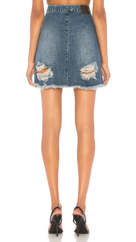 One Teaspoon Vixen High Waist Frayed Mini Skirt Zipper Oxford Denim