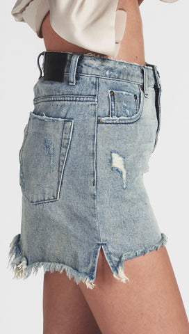 One Teaspoon 2020 High Waist Denim Fray Mini Skirt Blue Storm l ShopAA
