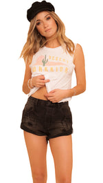 One Teaspoon Bandits Denim Shorts in Double Bass Black Distressed Fray