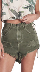 One Teaspoon High Waist Bandit Shorts Super Khaki Olive Army Green Denim