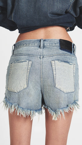 One Teaspoon Outlaws Denim Shorts Blue Storm Contrast Pockets l ShopAA