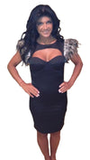Pascucci Mazzello Feather Cut Out Mini Dress in Black as seen on Teresa Giudice