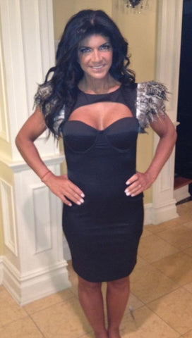 Pascucci Mazzello Feather Dress in Black as seen on Teresa Giudice