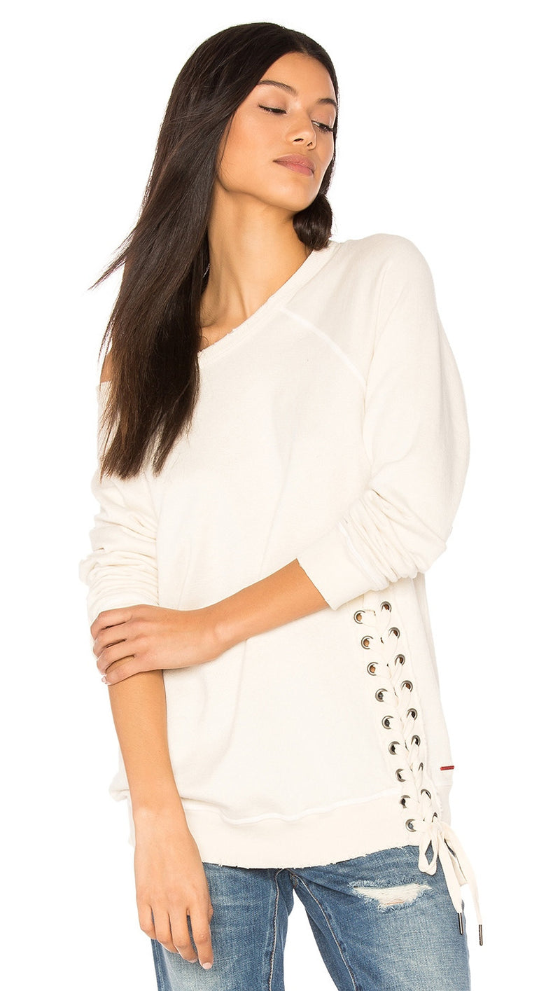 n:Philanthropy Mika Lace Up Side Detail Sweatshirt Magic White