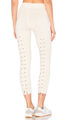 n:Philanthropy Reiko Lace Up Back Sweatpants White Magic Active Skinny Cream Beige