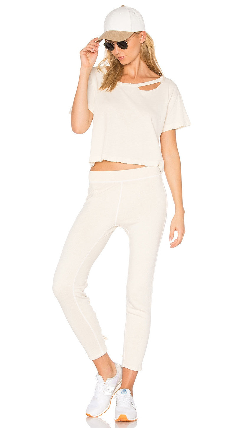 n:Philanthropy Reiko Lace Up Skinny Sweats White Magic Cream Beige Pants