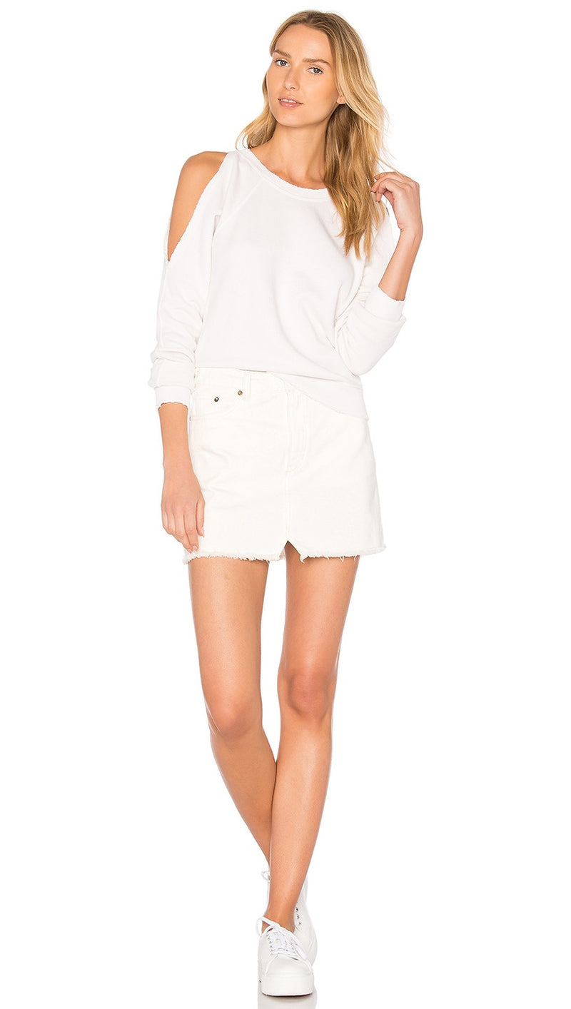 n:Philanthropy Maia Reverse Open Shoulder Sweatshirt White Magic