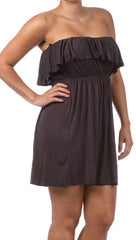 Plus Size Strapless Ruffle Mini Dress in Brown