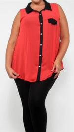 Plus Size Sheer Chiffon Sleeveless Buttondown in Coral