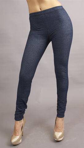 Plush Denim Fleece Leggings in Blue