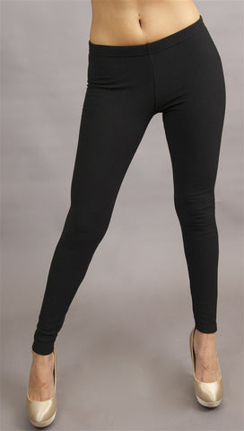 Plush Stitched Fleece Lined Leggings in Black