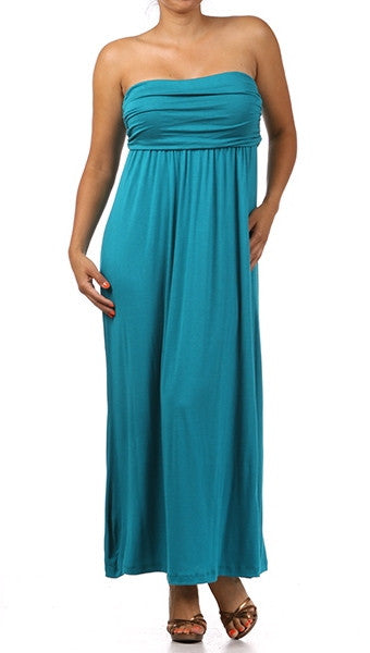 Plus Size Strapless Maxi Tube Dress in Jade