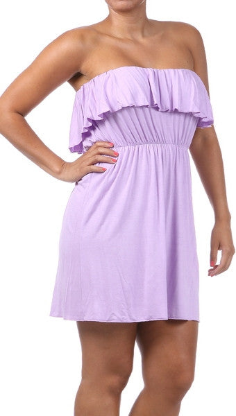 Plus Size Strapless Ruffle Mini Dress in Lavendar