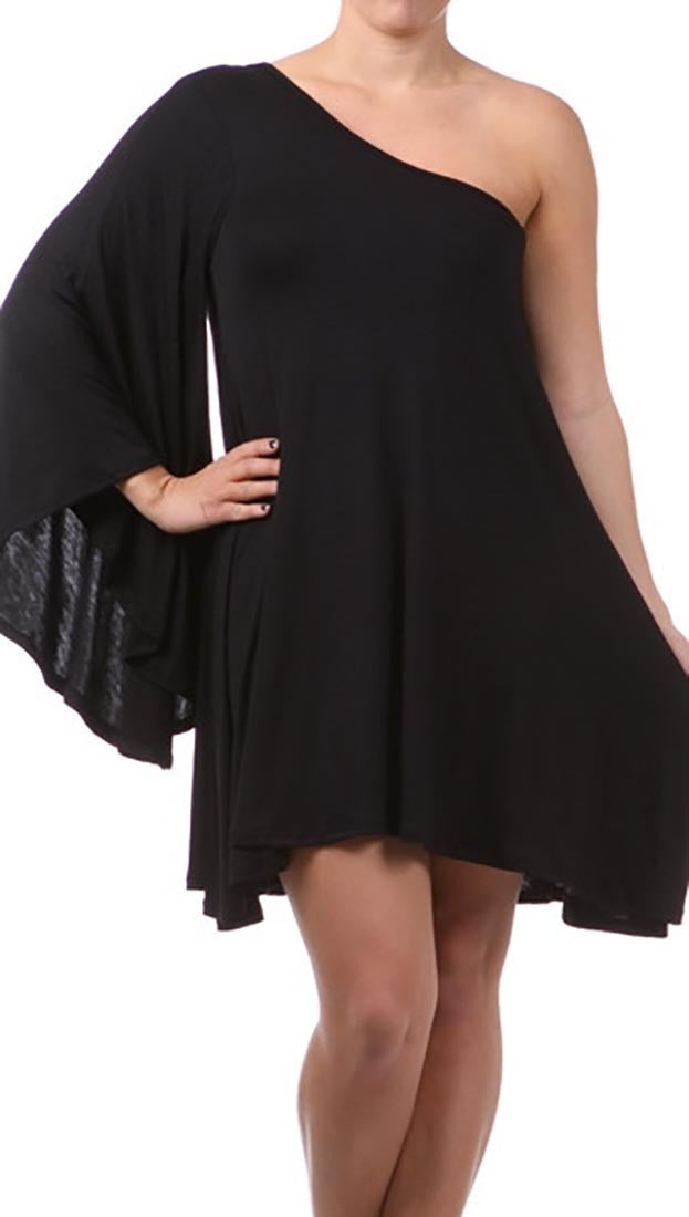 Plus Size One Shoulder Dress with Dolman Sleeve in Black