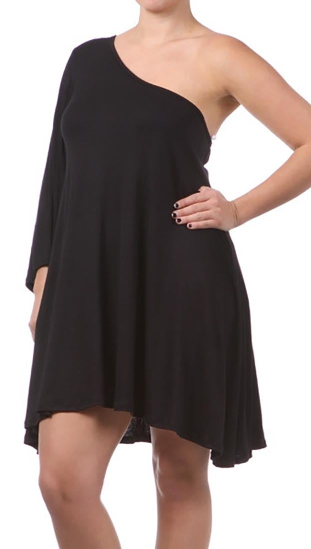 Plus Size One Shoulder Dress With Dolman Sleeve In Black Apparel