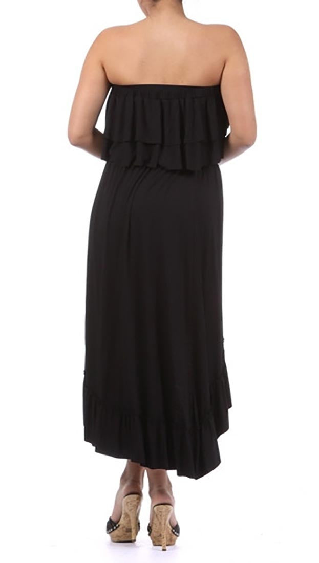 Plus Size Strapless Ruffle Hi Low Dress in Black