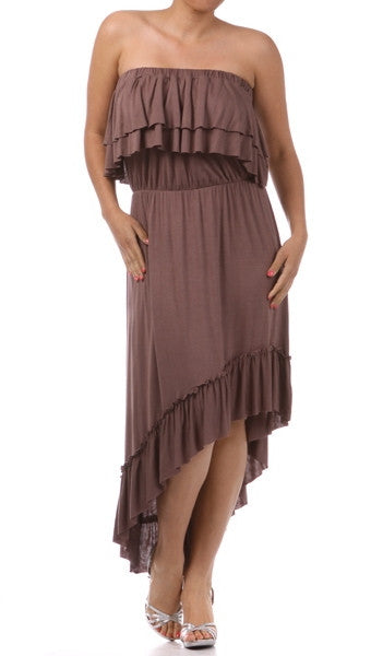 Plus Size Strapless Layered Ruffle Hi Low Midi Dress Mocha Brown | ShopAA