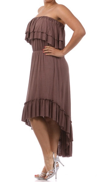 Plus Size Strapless Ruffle Hi Low Dress in Mocha