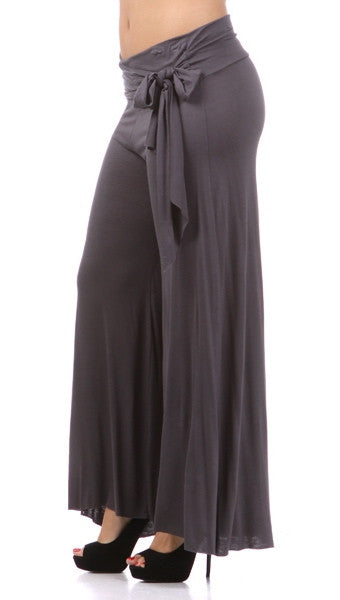 Plus Size Wide Leg Pants with Waist Tie in Charcoal
