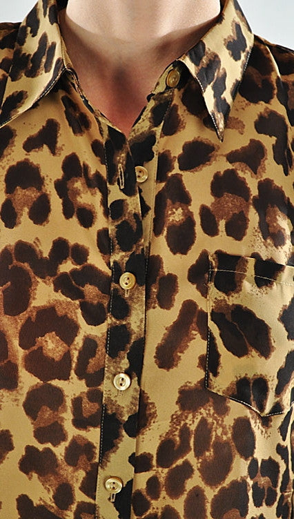 Plus Size Sleeveless Leopard Animal Print Buttondown