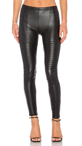 Plush Fleece Lined Liquid Moto Leggings Pleather Faux Leather | ShopAA