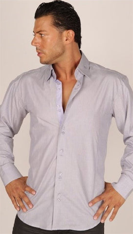Preview Mens Grey Pinstripe Dress Shirt w/ Purple Contrast